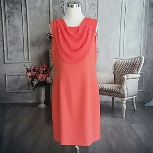Tahari Dress Coral with overlay Plus Size 14